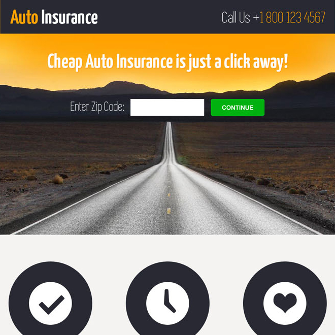 cheap auto insurance informative and professional landing page design template Auto Insurance example