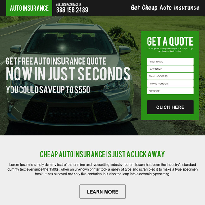 Insurance Quotes For Car: Auto Insurance Responsive Landing Page Design Template