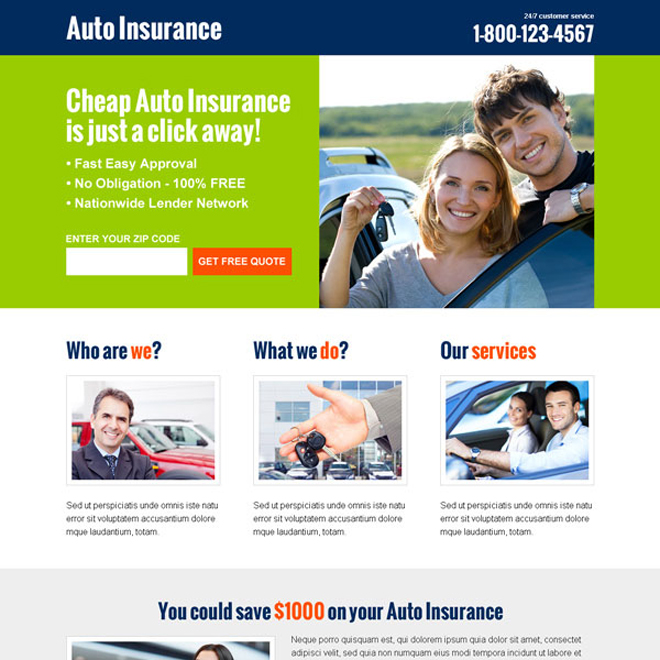 cheap auto insurance free quote lead capture converting landing page design Auto Insurance example