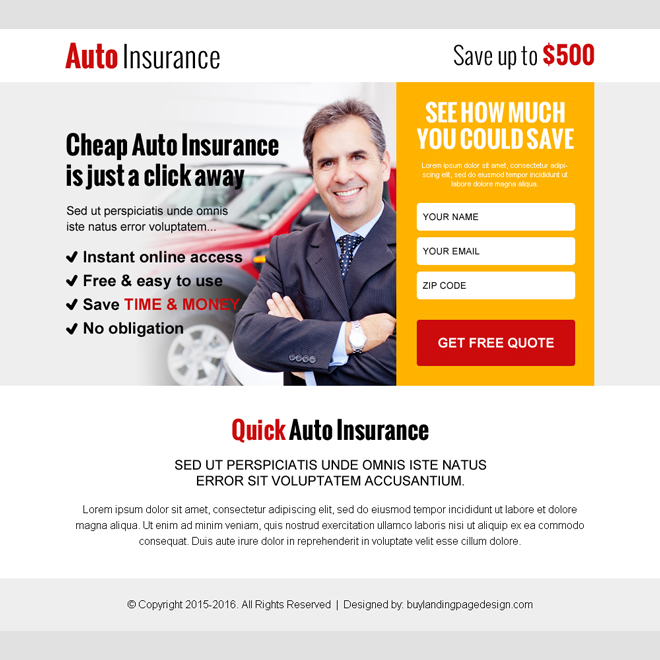 cheap auto insurance leads ppv landing page Auto Insurance example