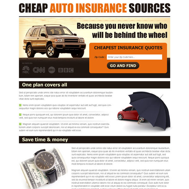 cheapest auto insurance quotes lead capture user friendly and clean landing page design template Auto Insurance example