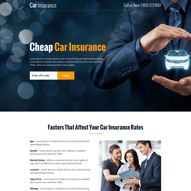 cheap car insurance zip capturing bootstrap landing page Auto Insurance example
