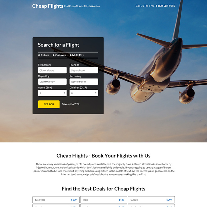best deals for flight booking responsive landing page Travel example
