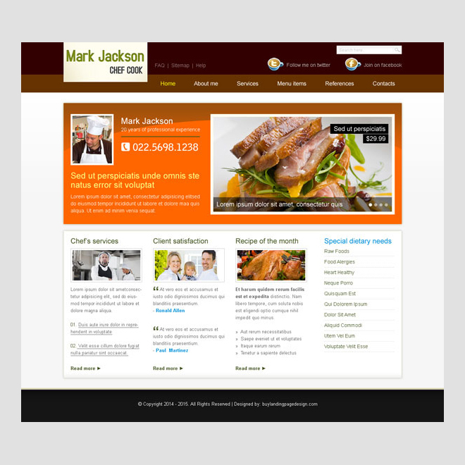 professional cook clean and professional website template design psd for personal website Website Template PSD example