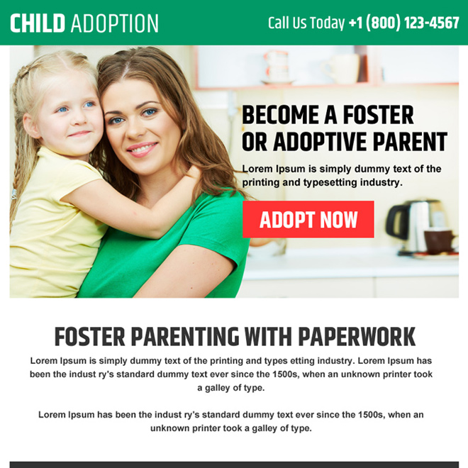child adoption agencies ppv landing page design Adoption example