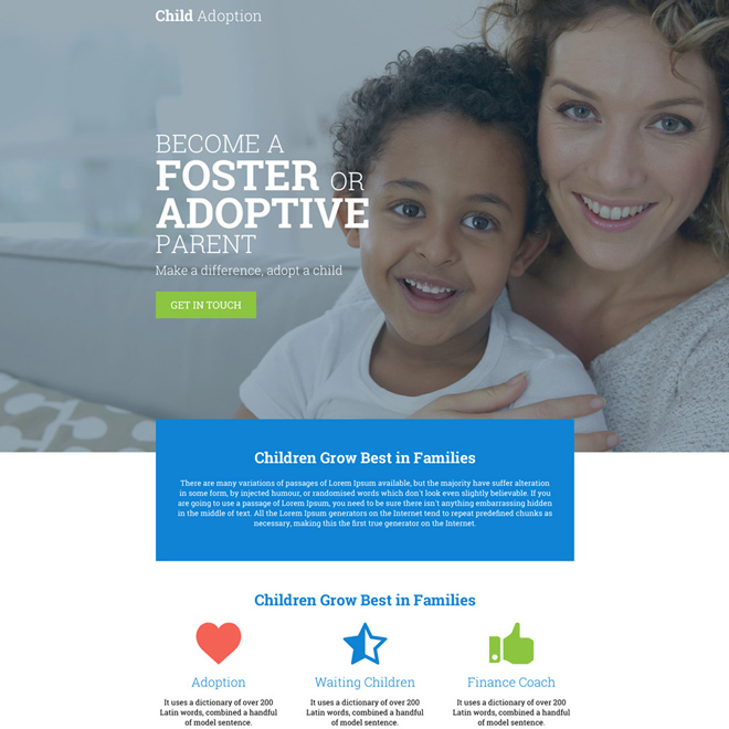 child adoption agency clean and informative landing page Adoption example