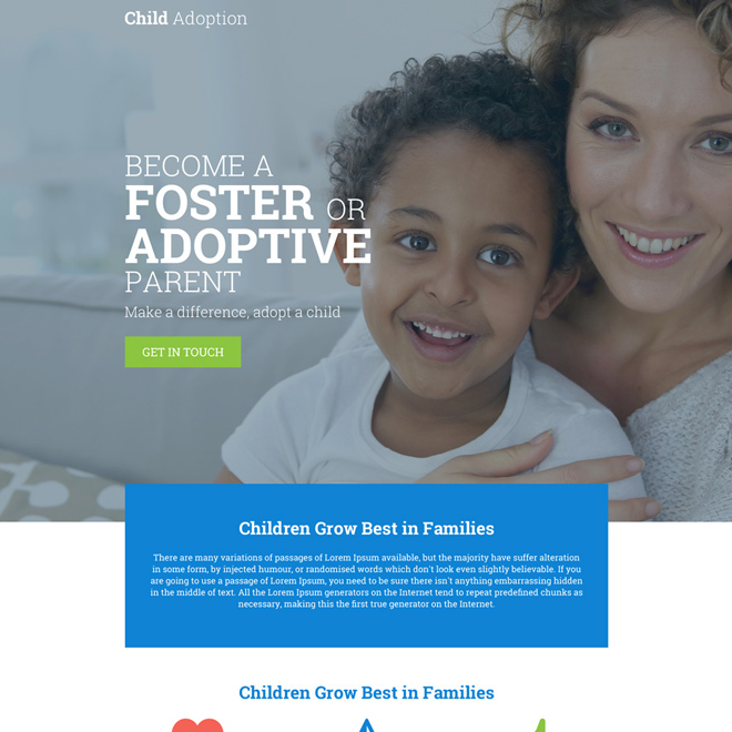 child adoption agency responsive landing page Adoption example