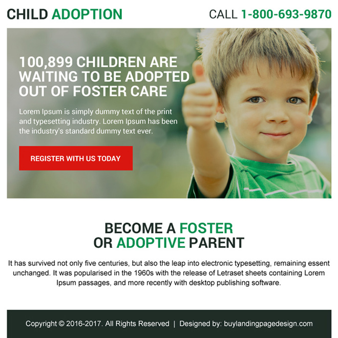 child adoption ppv landing page design for capturing quality leads Adoption example