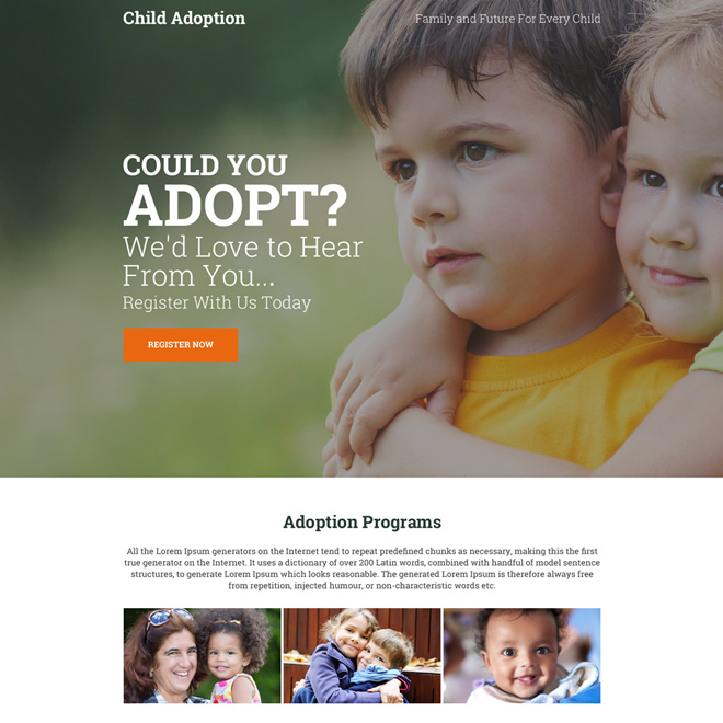 child adoption center call to action landing page design Adoption example