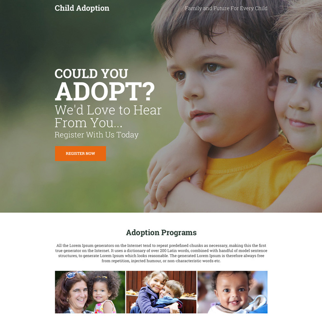 child adoption center responsive landing page Adoption example