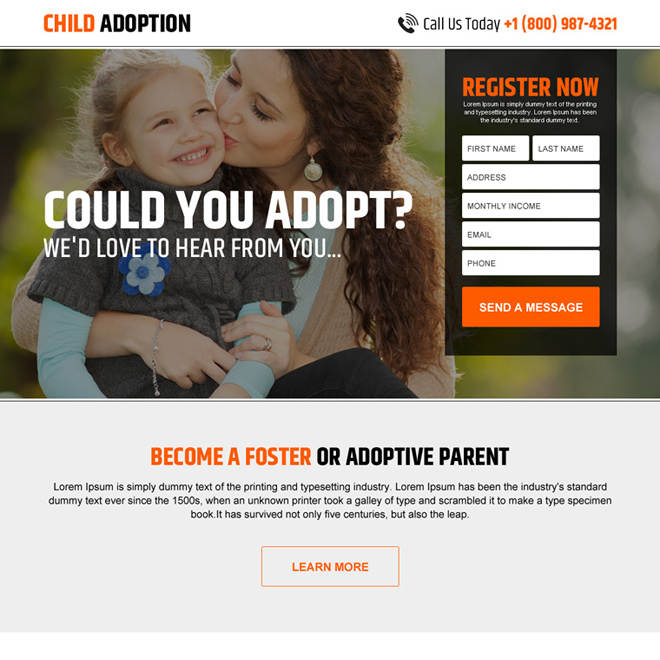 child adoption clean lead generating landing page design Adoption example