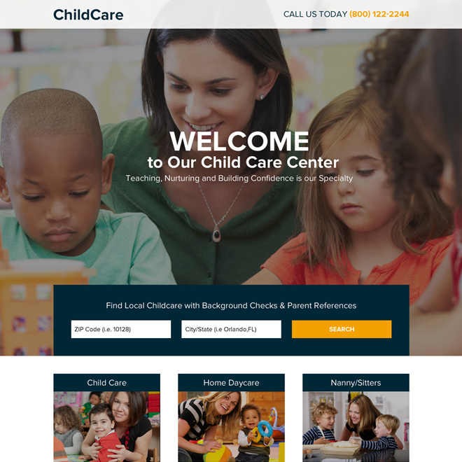 child care center lead generating responsive landing page Child Care example