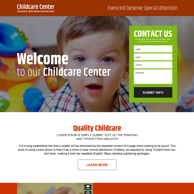 childcare center lead capture landing page design Child Care example