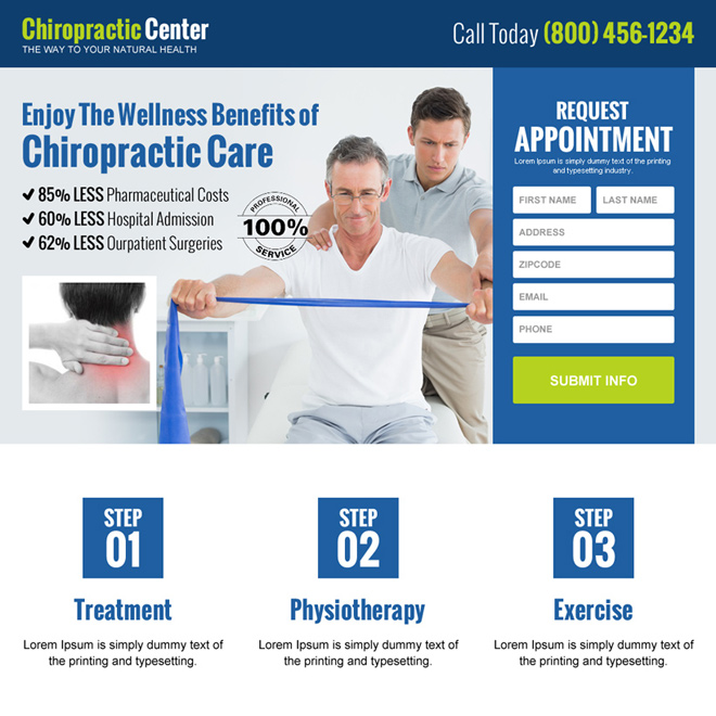 chiropractic care center appointment landing page design Chiropractic example