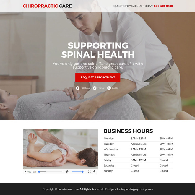 chiropractic care lead gen funnel landing page Chiropractic example