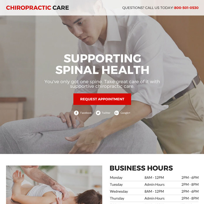 chiropractic care service responsive funnel landing page Chiropractic example
