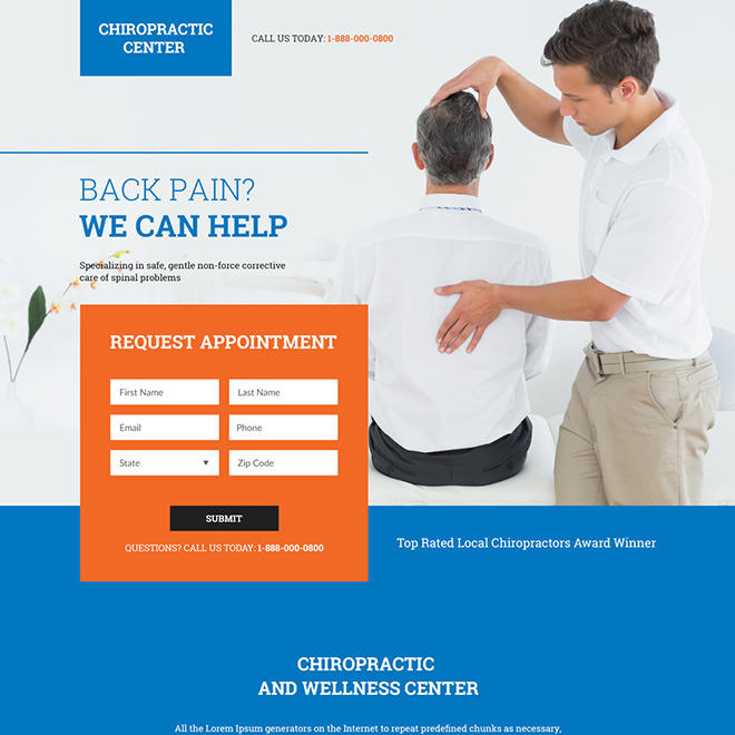 local chiropractors appointment booking responsive landing page Chiropractic example