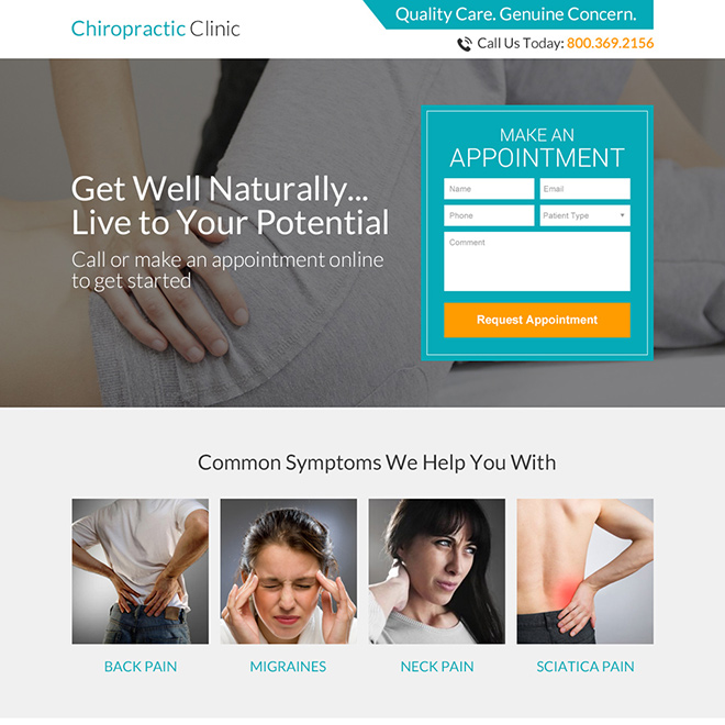 chiropractic clinic appointment responsive landing page Chiropractic example