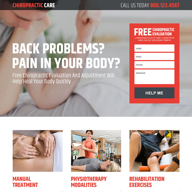 responsive chiropractic treatment landing page design Chiropractic example
