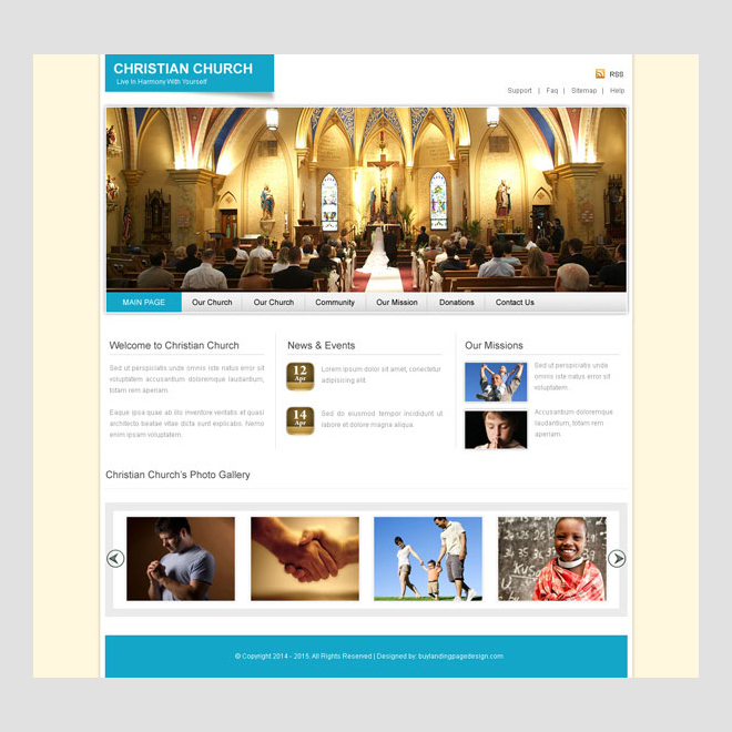 christian church clean and converting website template design psd to create your website Website Template PSD example