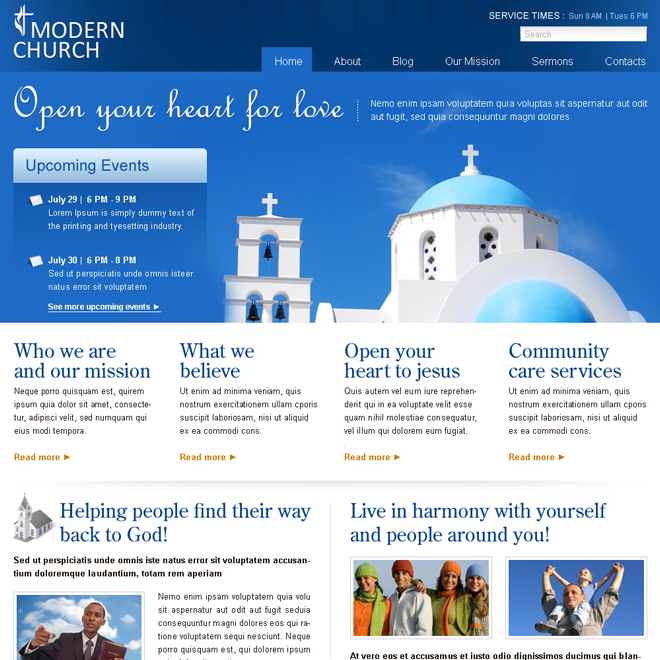 clean modern church website template psd for sale Website Template PSD example