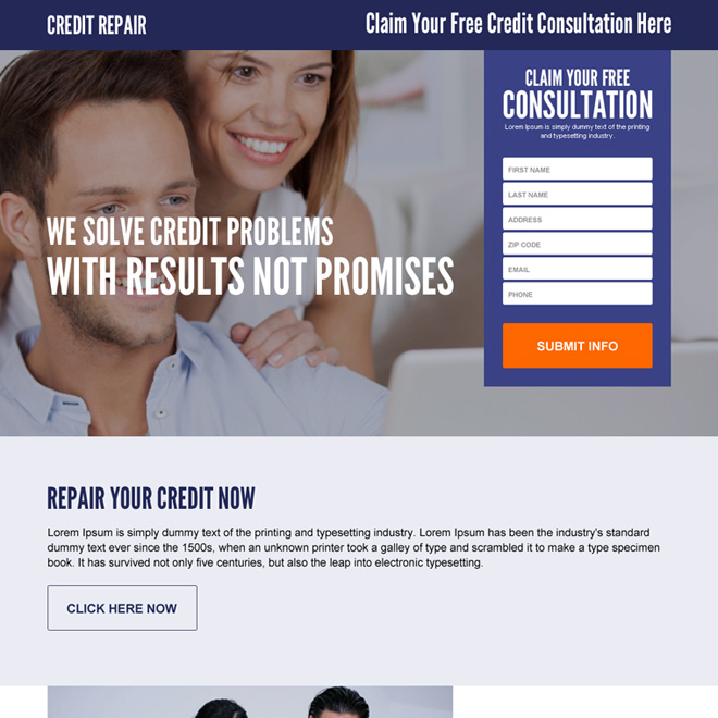 claim your free credit repair consultation responsive lead gen landing page design Credit Repair example