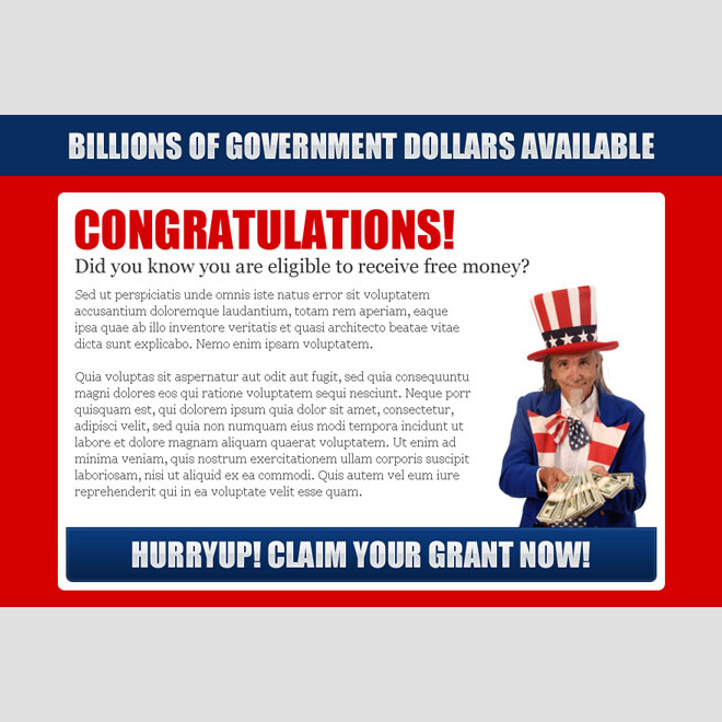 claim your government grant now converting ppv landing page design Government Grants example