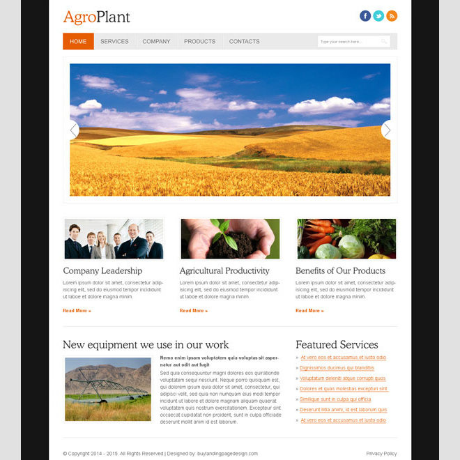 clean and effective agro company website template Website Template PSD example