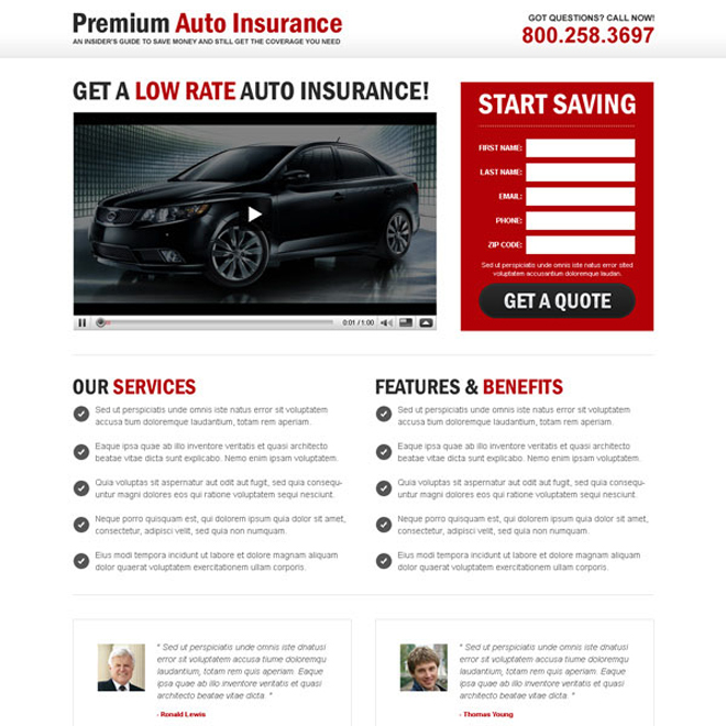 premium auto insurance lead capture video landing page design Auto Insurance example