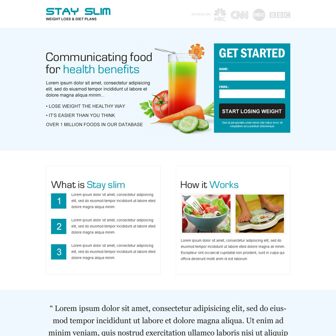 weight loss diet plan clean and minimal looking landing page design Weight Loss example