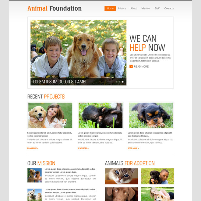 animal foundation website template psd Website Template PSD example