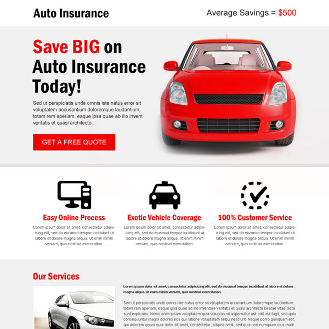 minimal looking effective and appealing auto insurance landing page template Auto Insurance example