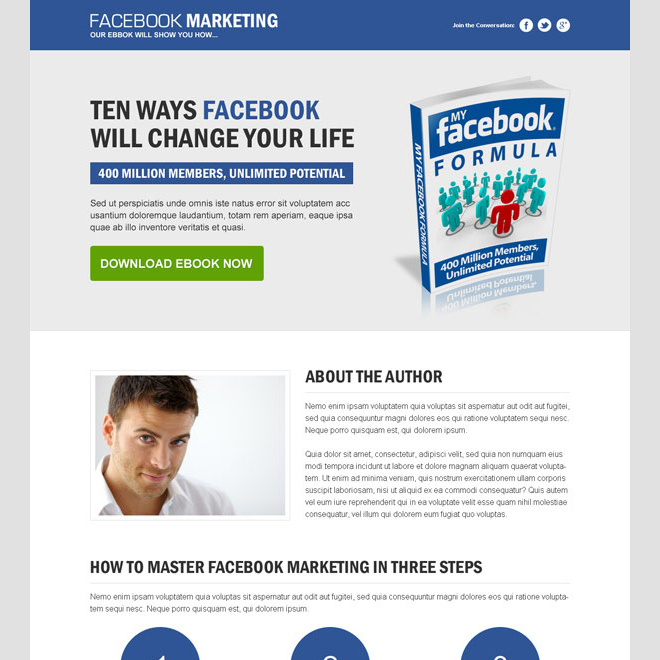 clean and converting landing page design for facebook marketing Ebook example