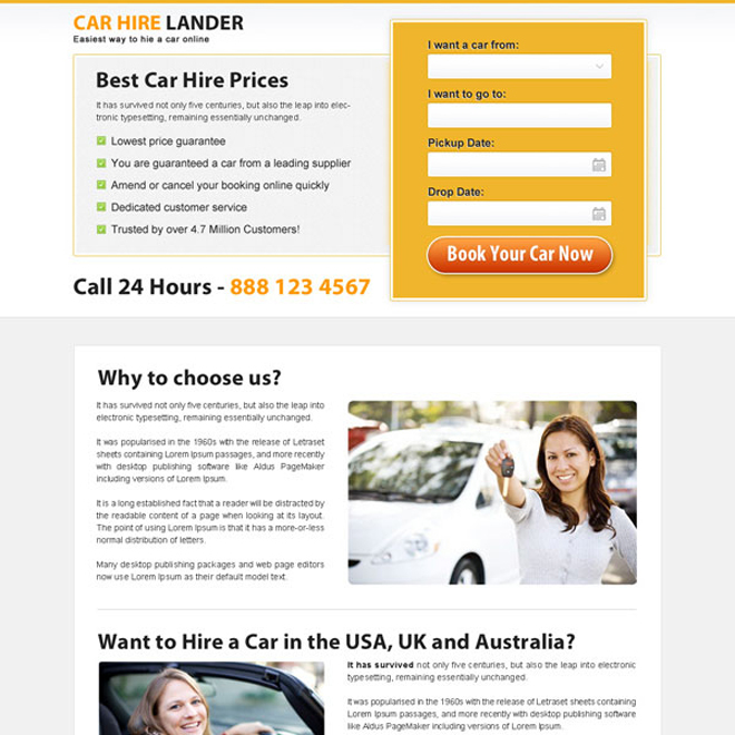 minimal looking car hire lead capture landing page design Car Hire and Car Rental example