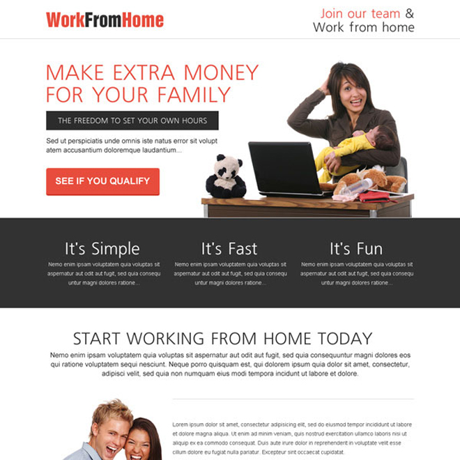 make extra money for your family from the comfort of your home call to action lead capturing landing page design template Work from Home example