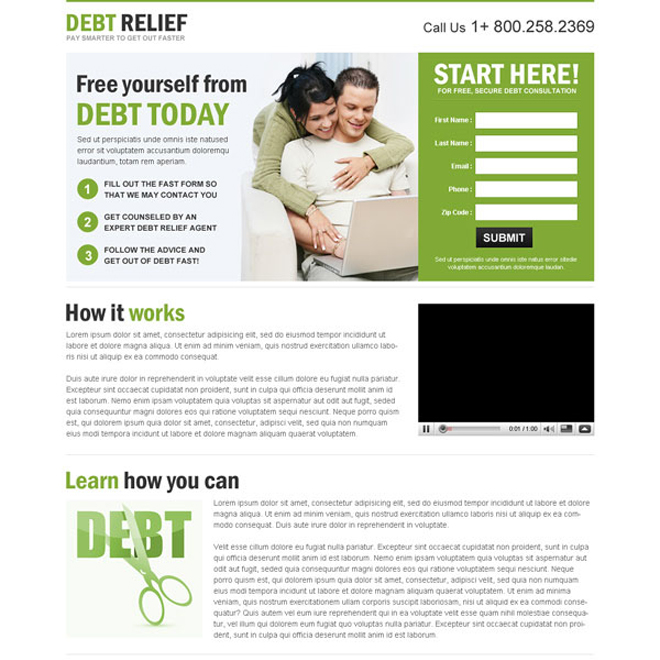 clean converting debt relief responsive lead capture landing page design templates Debt example