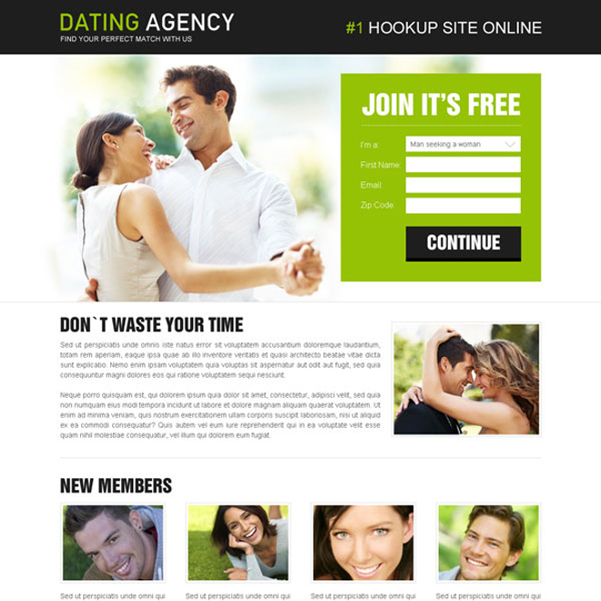 dating agency clean and attractive lead capture landing page to boost your conversion rate by double Dating example