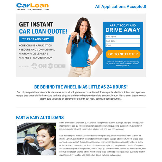 get instant car loan quote online landing page design Auto Financing example