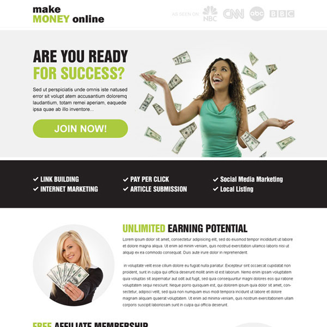 make money online optimized call to action best landing page design Make Money Online example