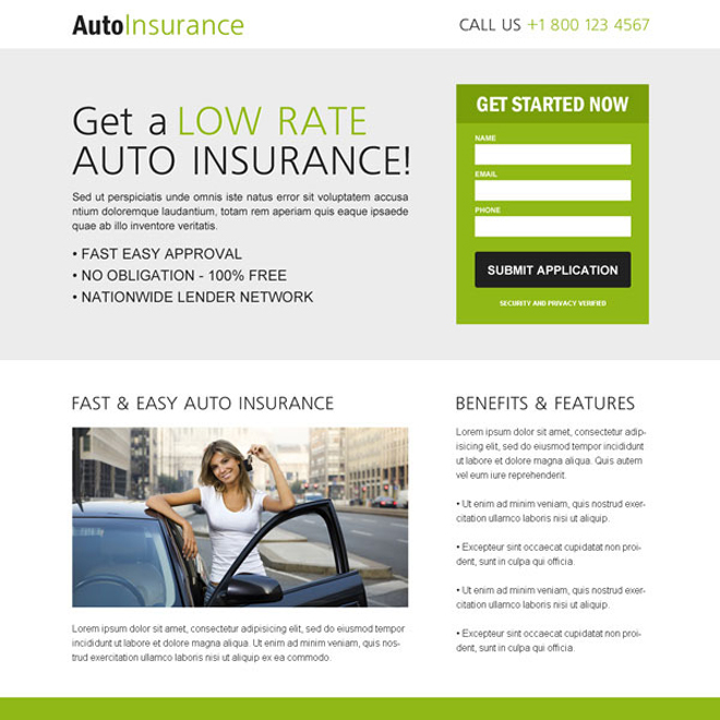 clean creative converting and flat responsive auto insurance lead capture landing page design templates Auto Insurance example