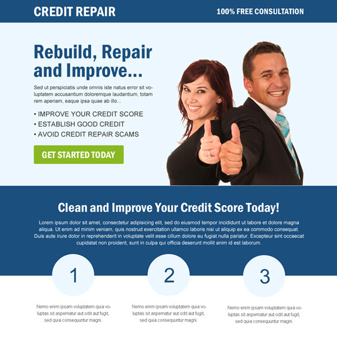 clean and creative credit repair landing page design Credit Repair example