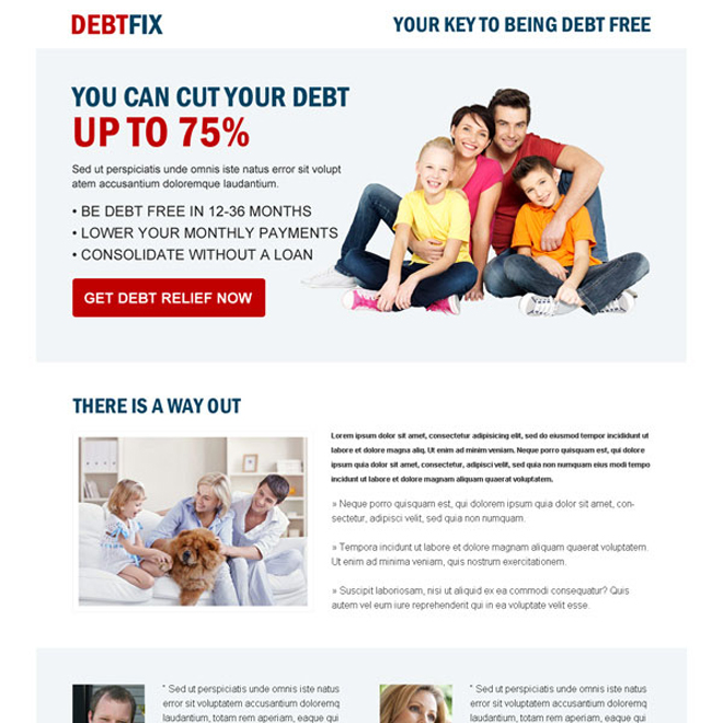 clean debt business converting responsive landing page design Debt example