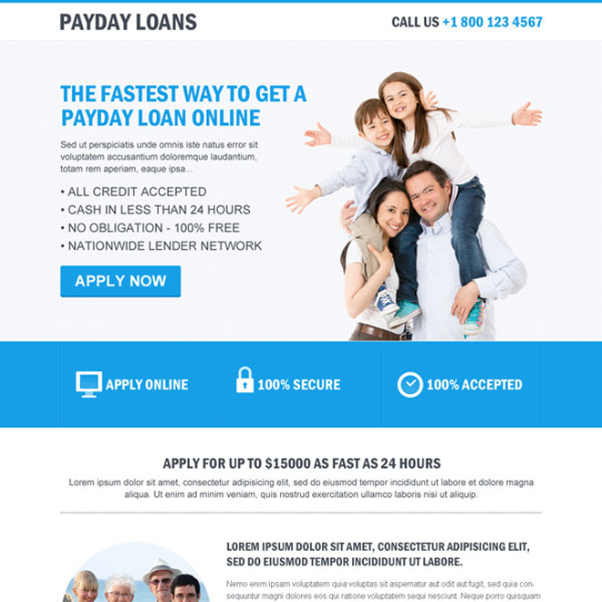 clean payday loan flat responsive landing page design Payday Loan example