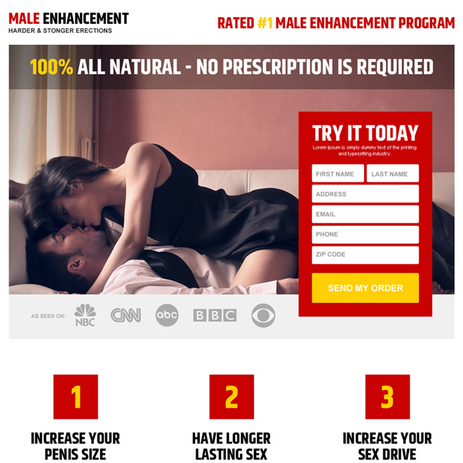 clean and appealing male enhancement product free trial landing page design Male Enhancement example