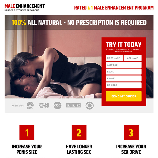 responsive and appealing male enhancement product landing page Male Enhancement example