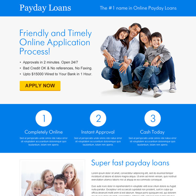 friendly and timely online application call to action landing page design Payday Loan example