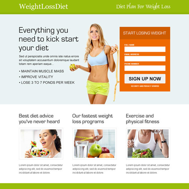 weight loss diet sign up now clean and most converting landing page design Weight Loss example