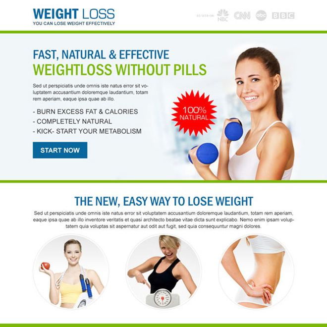 weight loss without pills responsive landing page design Weight Loss example