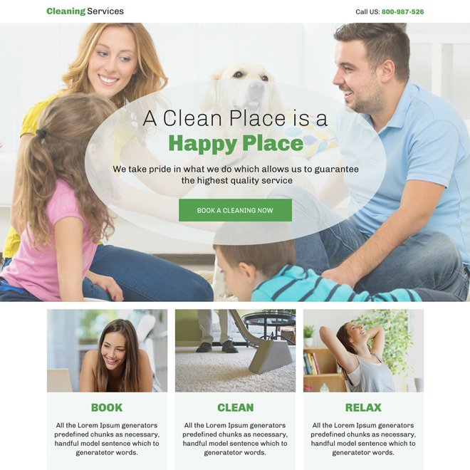cleaning service appointment booking bootstrap landing page design Cleaning Services example