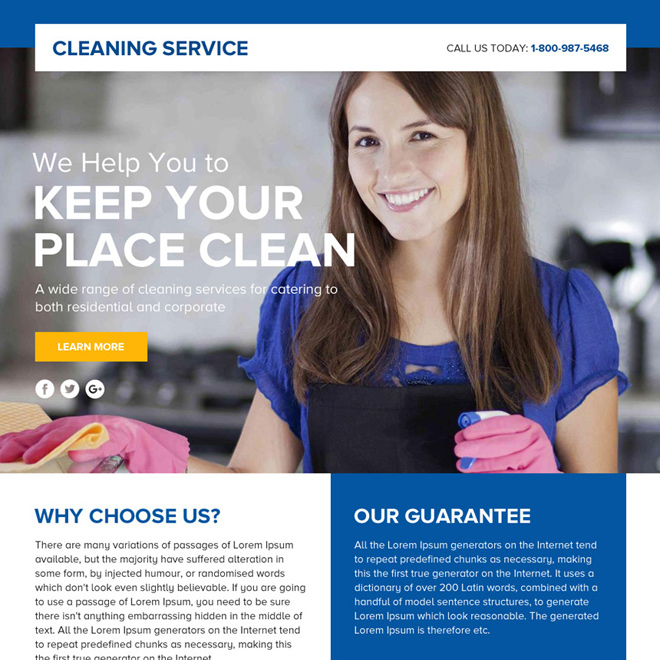 cleaning service lead funnel responsive landing page design Cleaning Services example